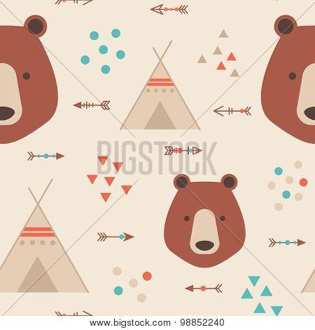 Cute Tribal Geometric Seamless Pattern In Cartoon Style