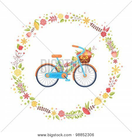 Colorful Flat Elegant Bicycle With Flowers In The Basket