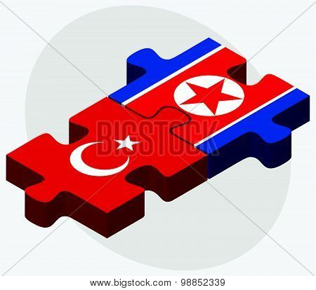 Turkey And Korea-north Flags