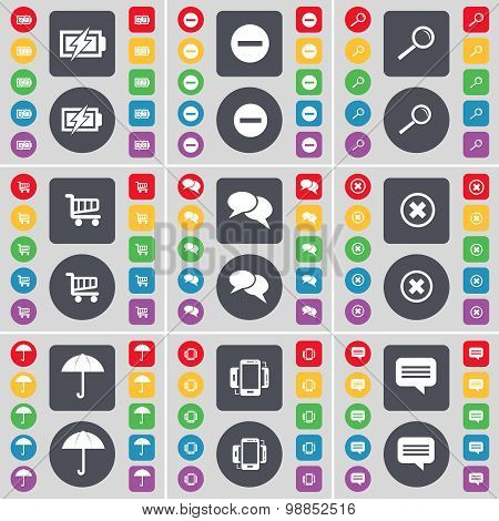 Charging, Minus, Magnifying Glass, Shopping Cart, Chat, Stop, Umbrella, Smartphone, Chat Icon Symbol