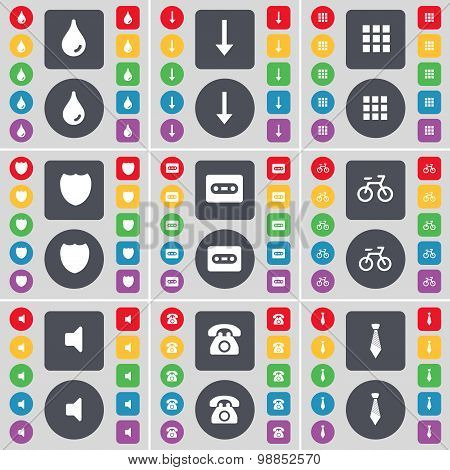 Drop, Arrow Down, Apps, Badge, Cassette, Bicycle, Sound, Retro Phone, Tie Icon Symbol. A Large Set O