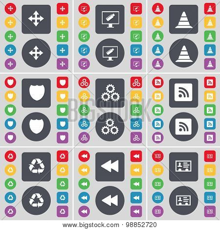 Moving, Monitor, Cone, Badge, Gear, Rss, Recycling, Rewind, Contact Icon Symbol. A Large Set Of Flat