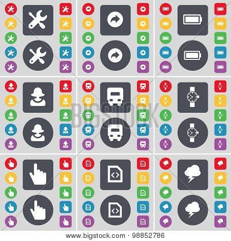 Wrench, Back, Battery, Avatar, Truck, Wrist Watch, Hand, File, Lightning Icon Symbol. A Large Set Of