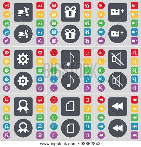Scooter, Gift, Cassette, Gear, Note, Mute, Medal, File, Rewind Icon Symbol. A Large Set Of Flat, Col