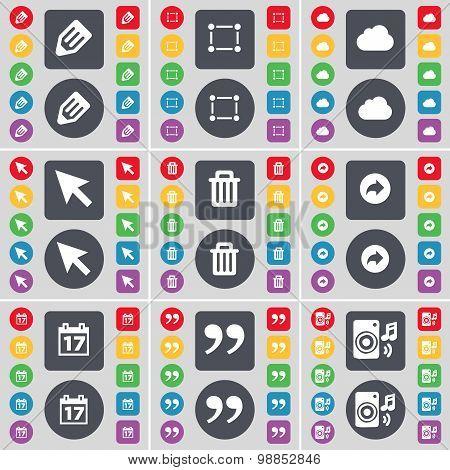 Pencil, Frame, Cloud, Cursor, Trash Can, Back, Calendar, Quotation Mark, Speaker Icon Symbol. A Larg