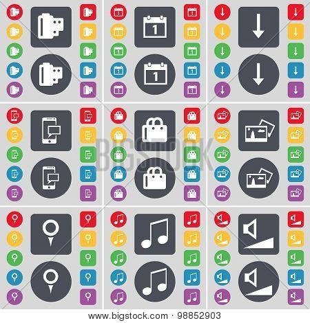 Negative Films, Calendar, Arrow Down, Sms, Bag, Picture, Checkpo Icon Symbol. A Large Set Of Flat, C
