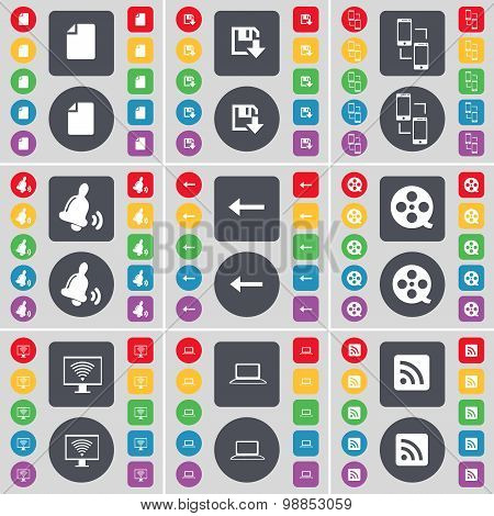 File, Floppy, Connection, Bell, Arrow Left, Videotape, Monitor, Laptop, Rss Icon Symbol. A Large Set