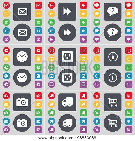 Sms, Rewind, Chat Bubble, Clock, Socket, Information, Camera, Truck, Shopping Cart Icon Symbol. A La