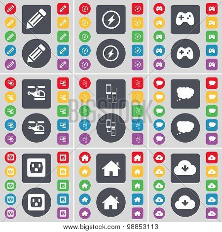 Pencil, Flash, Gamepad, Helicopter, Connection, Chat Cloud, Socket, House, Cloud Icon Symbol. A Larg