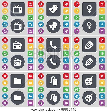 Retro Tv, Bird, Venus Symbol, Radio, Receiver, Pencil, Folder, Mouse, Videotape Icon Symbol. A Large