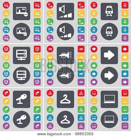 Picture, Volume, Train, Server, Trumped, Arrow Right, Microphone, Hanger, Laptop Icon Symbol. A Larg