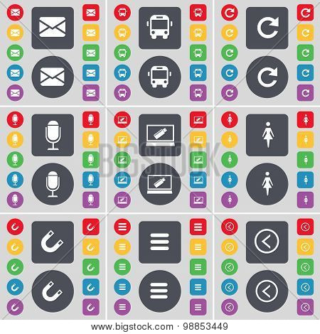 Message, Bus, Reload, Microphone, Laptop, Silhouette, Magnet, Apps, Arrow Left Icon Symbol. A Large