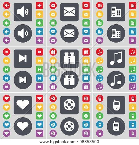 Sound, Message, Building, Media Skip, Binoculars, Note, Heart, Videotape, Mobile Phone Icon Symbol.
