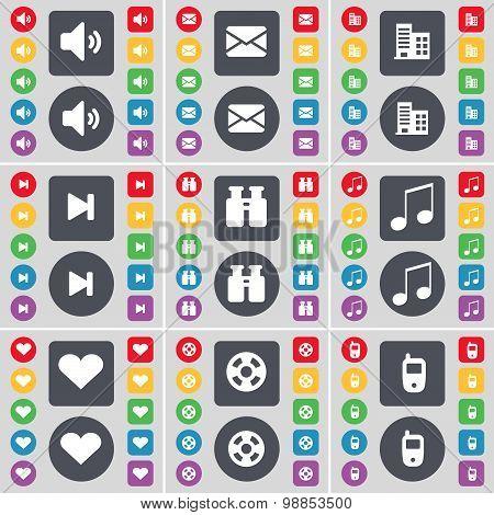 Sound, Message, Building, Media Skip, Binoculars, Note, Heart, Videotape, Mobile Phone Icon Symbol.
