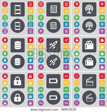 Videotape, Calculator, Wi-fi, Database, Rocket, Shopping Bag, Lock, Battery, Clapper Icon Symbol. A