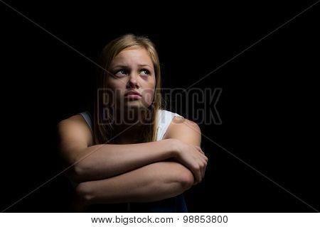 Scared alone in dark