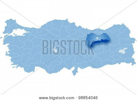 Map Of Turkey, Erzinca