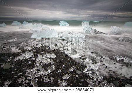 Ice blocks at a beach in Iceland