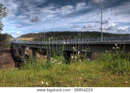 New Steel Bridge On Concrete Pillars Crossing Bed Forest Stream