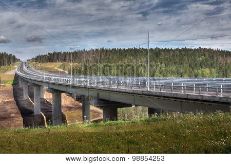 Bridge Spans Of Overpass On  Highway In Russian Forest.