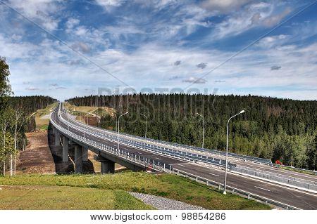 Speedway In Leningrad Region, New  Priozersk Highway, Bridge Over River.