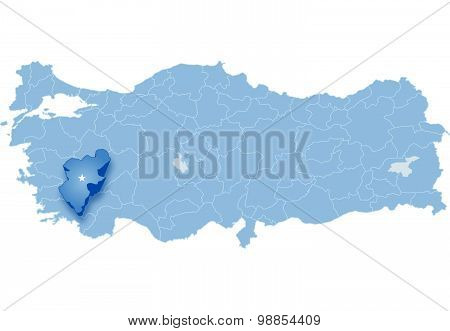 Map Of Turkey, Denizli