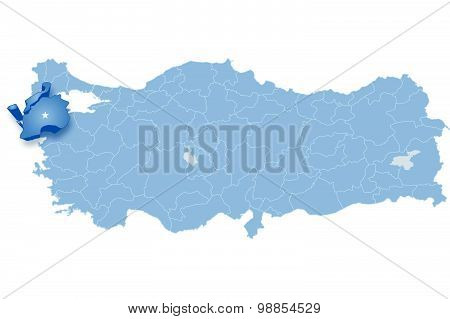 Map Of Turkey, Canakkale