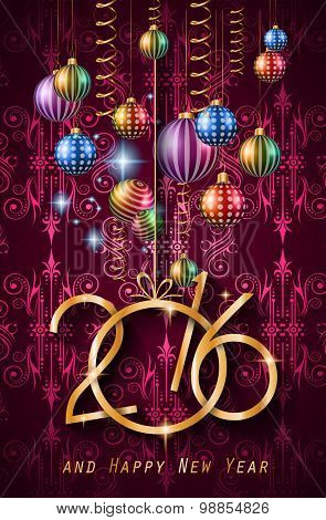 2016 Happy New Year Background for your Christmas dinner invitations, festive posters, restaurant menu cover, book cover,promotional depliant, Elegant greetings cards and so on.