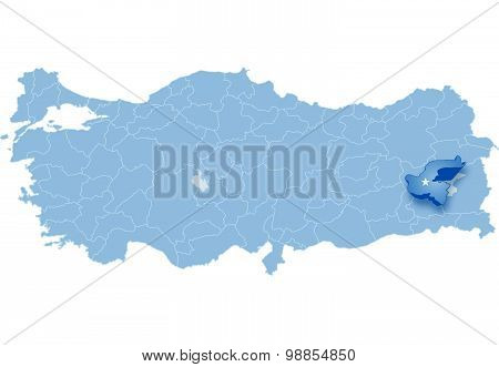 Map Of Turkey, Bitlis