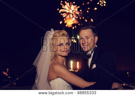 Beautiful Bridal Couple Dancing Sorrounded By Fireworks