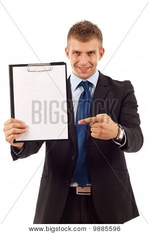 Man Showing A Blank Clipboard