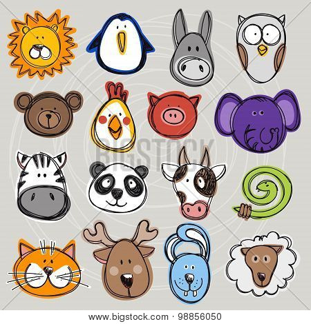 Vector Set Of Hand Drawn Funny Doodle Animals, Sketch Style.