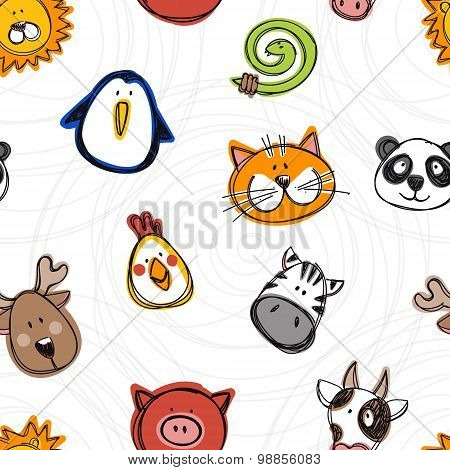 Vector Seamless Pattern Of Hand Drawn Funny Doodle Animals, Sketch Style.