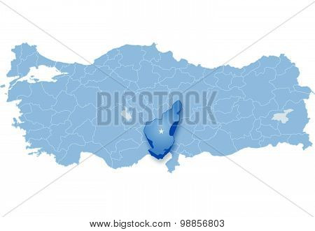 Map Of Turkey Where Adana Province Is Pulled Out