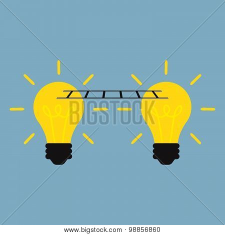 Idea Connect Together With Light Bulb And Ladder