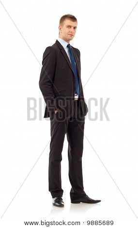 Business Man With Hands In Pockets