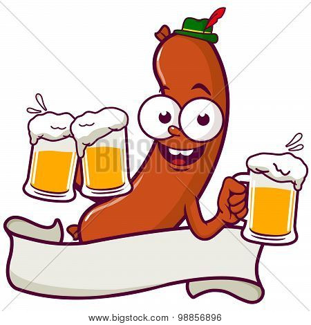Cartoon Sausage serving beer