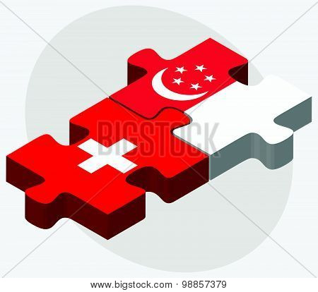 Switzerland And Singapore Flags