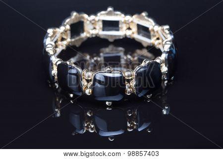 Bracelet with black  stones over black
