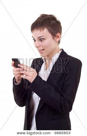 Shoked Woman Looking At A Phone