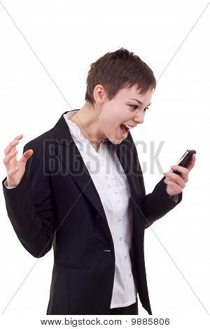 Woman Shouting To A Mobile