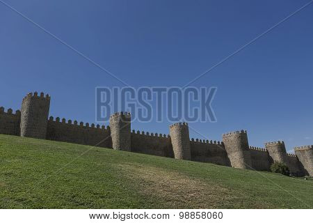 View Walls Of Avila City In Spain