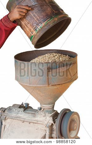 coffee hulling machine on white background