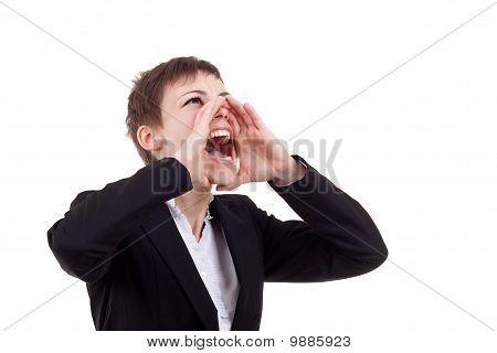 Business Woman Shouting