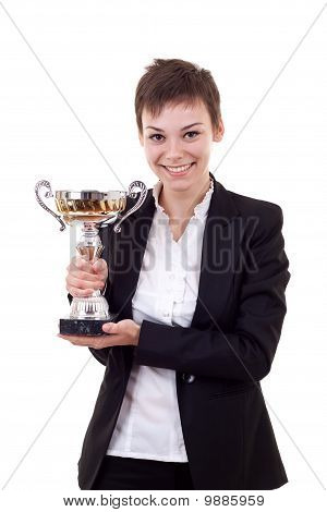 Business Woman Holding A Silver Cup