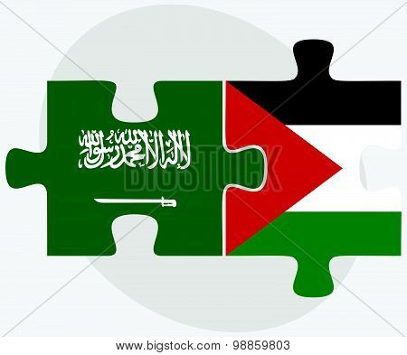 Saudi Arabia And Palestine Flags