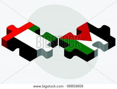 United Arab Emirates And Palestine Flags