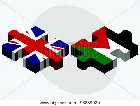 United Kingdom And Palestine Flags