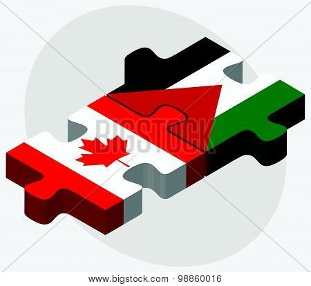 Canada And Palestine Flags