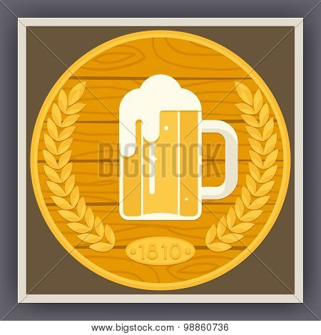Symbol Mug of Beer with Foam Icon on Stylish Gold Wood Background Poster Flat Design Vector Illustra